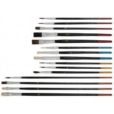 Кисти художественные Набор 15 штук. Плоские и круглые. FIT 01535