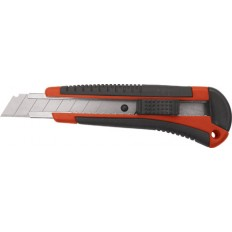 """Нож технический """"Тренд"""", пластик. корпус с прорезин. вставками, усиленный метал. направляющей, 18 мм арт. 10174"""