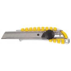 Нож технический 18 мм усиленный, металл.корпус с резин.вставками, вращ.прижим арт. 10257