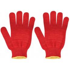 Перчатки вязаные утепленные красные х/б арт. 12498