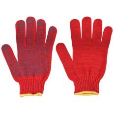 Перчатки вязаные утепленные красные х/б с ПВХ арт. 12499