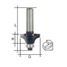 Фреза кромочная профильная c нижним подшипником, DxHxL = 20х8х48 мм арт. 36669