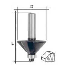 Фреза кромочная конусная с нижним подшипником, угол 45гр., DxL = 25х50 мм арт. 36687