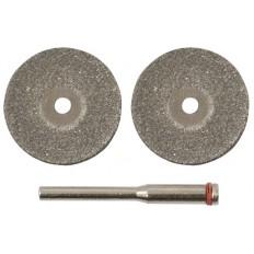 Круги с алмазным напылением 30 мм, 2 шт. и штифт д.3 мм арт. 36931