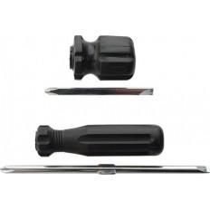 Отвертка с переставным жалом коротыш, черная ручка 6 x 40мм арт. 56207