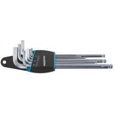 Ключи HEX с шаром WP 158-0709-02, сталь S2, 9 шт. (2.0-10.0 мм) (WP HQ) арт. 64207