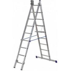 Лестница двухсекционная алюминиевая, 2х7 ступеней, H=202/339 см, вес 6,03 кг арт. 65422