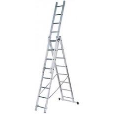 Лестница трехсекционная алюминиевая, 3х7 ступеней, H=202/339/476 см, вес 9,16 кг арт. 65432