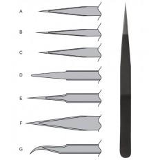 Пинцет прецизионный, антистатический нержавеющая сталь пластиковое покрытие Профи тип А (110х9х2мм) арт. 67471